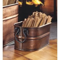 Copper-Plated Steel Firewood Tub with 5 lbs of Fatwood Fire Starter