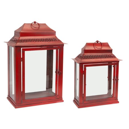 Rnd Glass Top Table (Set of 2 Antique Red and Clear Glass Table Top Lanterns 21