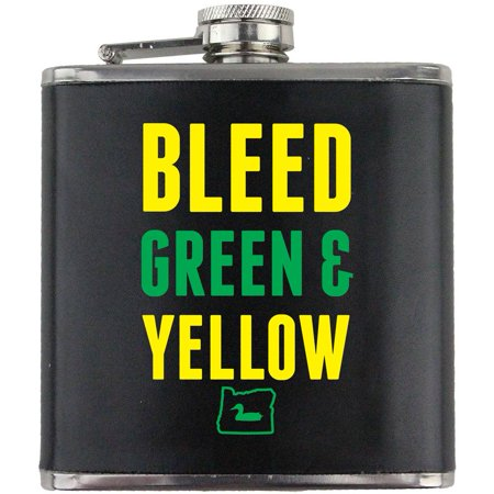 Bleed Green and Yellow I Duck Oregon Stainless Steel Leather Wrapped 6oz. Flask Oregon Ducks Yellow Green