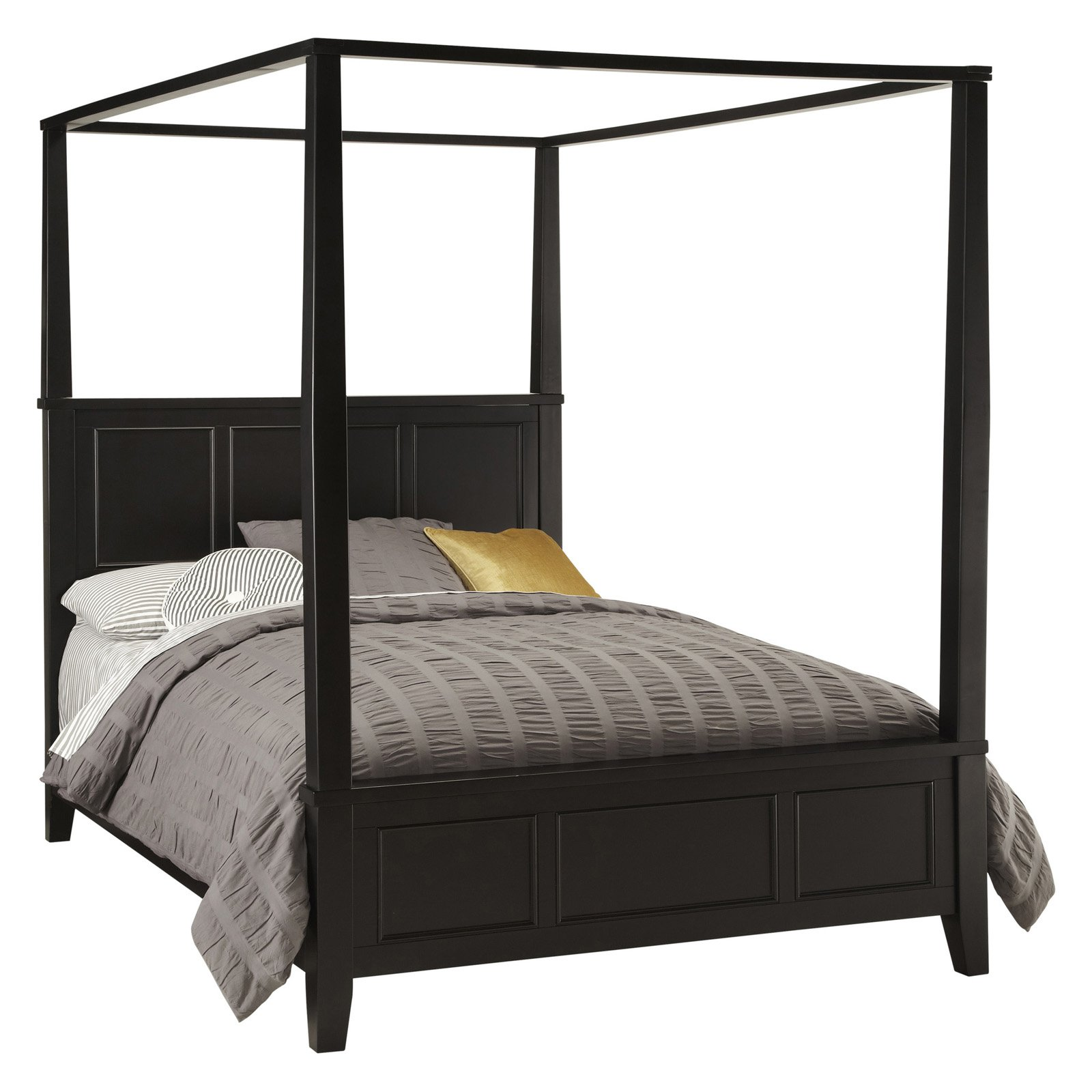 Home Styles Bedford Queen Canopy Bed, Black