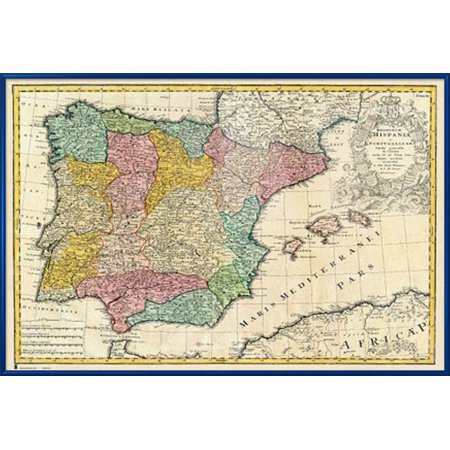 Map Of Spain To Print.Antique Map Of Spain Mapa Antiguo De Espana Framed Poster Print Spanish Version Size 36 X 24