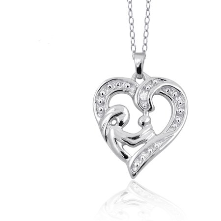 JewelersClub White Diamond Accent Sterling Silver Mother and Child Heart Pendant