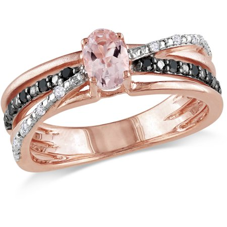 1/2 Carat T.G.W. Morganite and 1/7 Carat T.W. Black and White Diamond Pink-Plated Sterling Silver Ring Morganite Pink Sapphire Ring