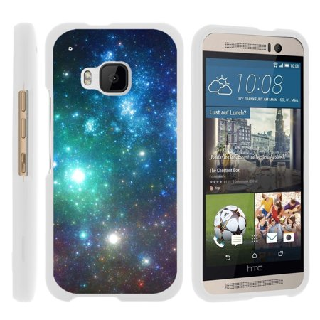 Htc Diamond Design Snap - HTC One M9 , [SNAP SHELL][White] Hard White Plastic Case with Non Slip Matte Coating with Custom Designs - Colorful Galaxy Specs