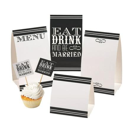 Fun Express - Eat Drink & Be Married Buffet Decor Kit for Wedding - Party Supplies - Serveware & Barware - Misc Serveware & Barware - Wedding - 12 Pieces](Buffet Supplies)