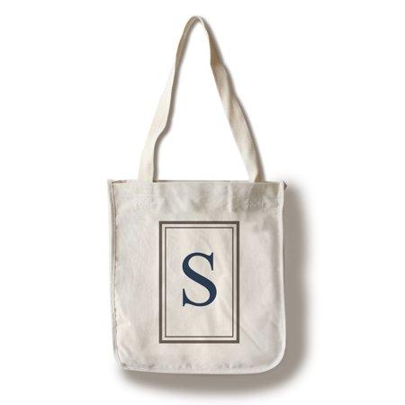 S Monogram (Monogram - Estate - Gray & Blue - S (100% Cotton Tote Bag -)