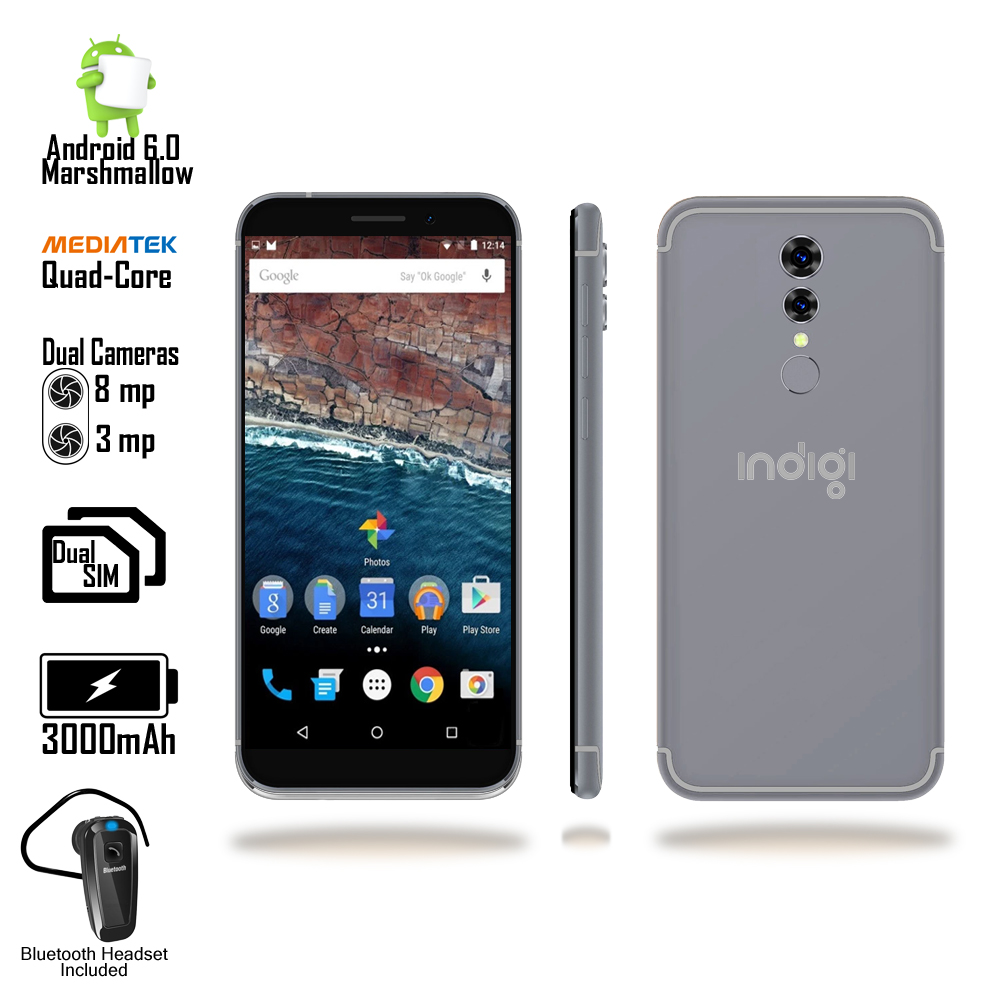 "4G LTE GSM Unlocked 5.6"" SmartPhone by Indigi® (QuadCore Processor @ 1.2GHz + 1GB RAM + Android 6 + Fingerprinter) Black"