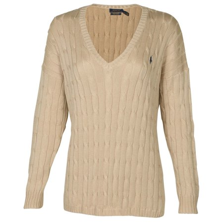 Polo Ralph Lauren Women's Cable Knit V-Neck Pony (Yves Saint Laurent Silk Sweater)