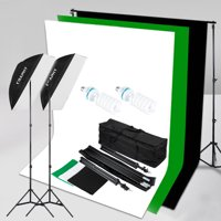 1250W 5500K 50cmx70cm Softbox Continuous Lighting Kit + 10x6.5ft Background + 3*Backdrops Video Shoot Photography