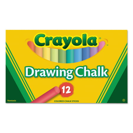 Crayola Colored Drawing Chalk, 12 Assorted Colors 12 Sticks/Set (Compressed Chalk)