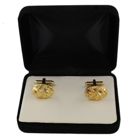 Gold Tone Basket Weave Oval Mens Cufflinks Made In USA Gift (Tone Mens Cufflinks)