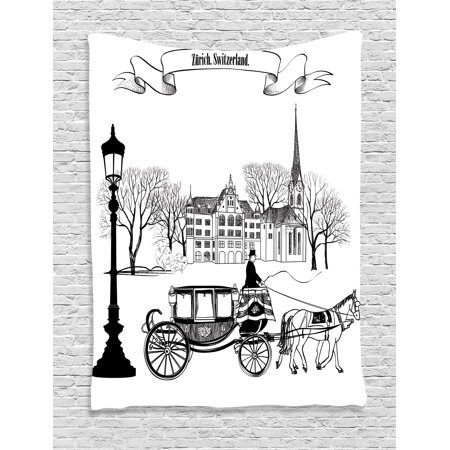 (Sketch Tapestry Wall Hanging Old Street Scene with A Carriage Horse from Twenties Historical Northern Europe Decor, Bedroom Living Room Dorm Decor, Black White, by Ambesonne)