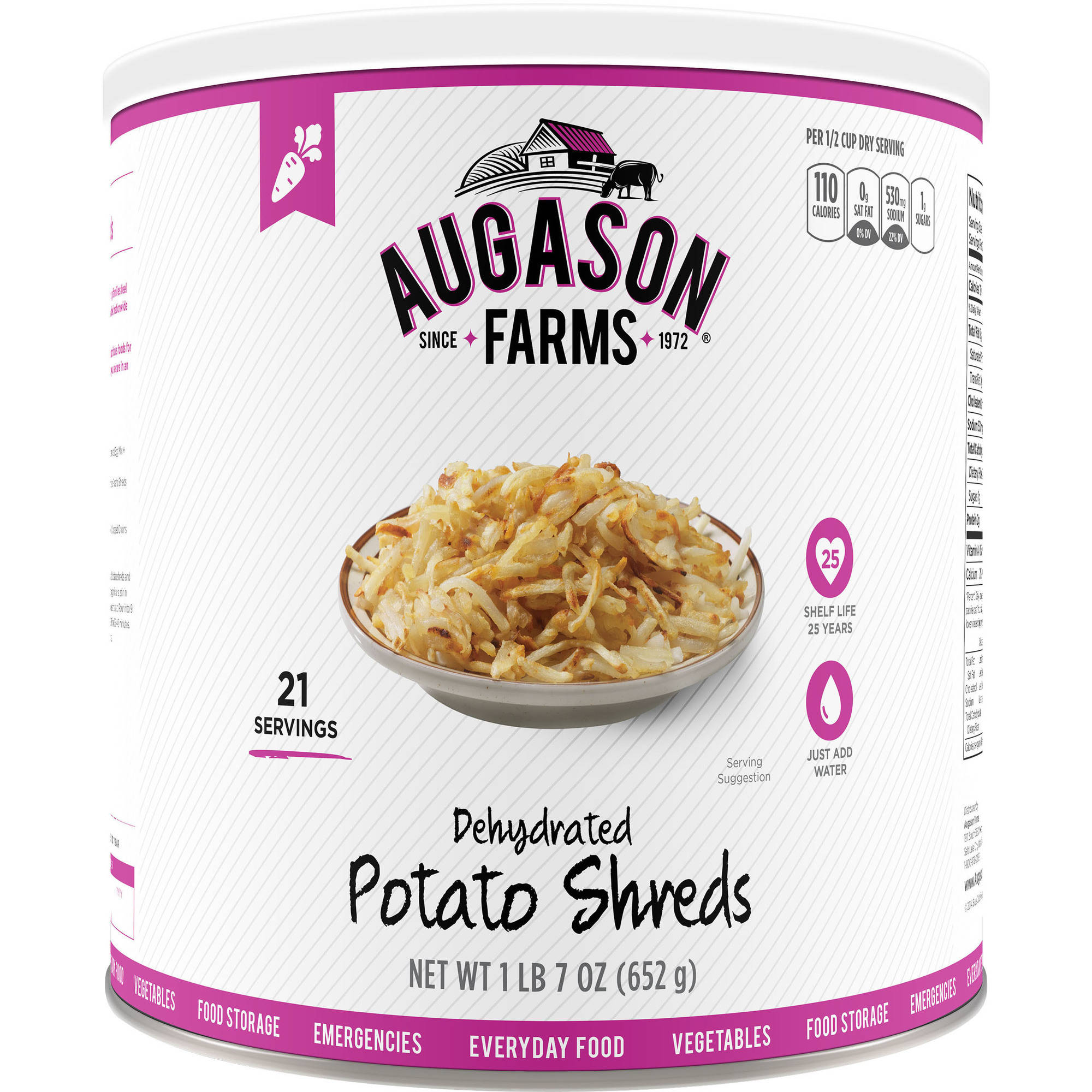 Augason Farms Emergency Food Dehydrated Potato Shreds, 23 oz