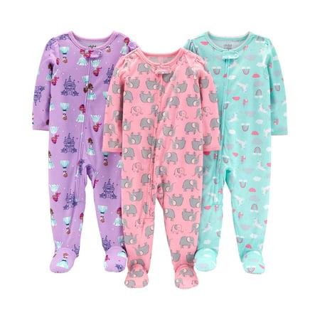 Long Sleeve Footed Pajamas Bundle, 3 pack (Baby Girls) - Monkey Pajamas For Toddlers