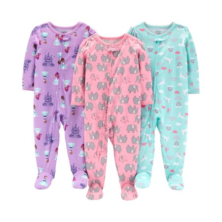 One Piece Footed Snug Fit Cotton Pajamas, 3 pack (baby - Baby Girl Holiday Pajamas