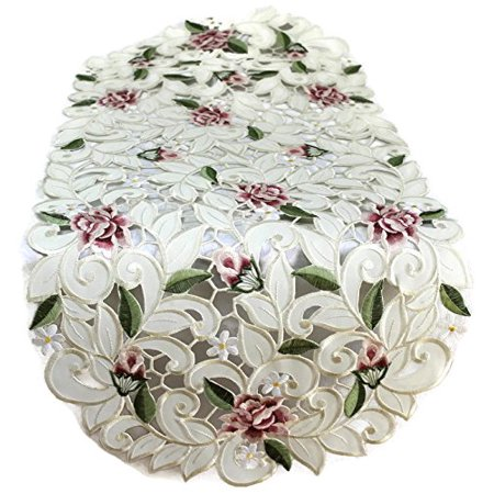 Table Runner With Lights (Doily Boutique Table Runner Embroidered with Light Pink Cut Work Roses, Size 70 x 15)