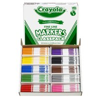 Crayola Non-Washable Classpack Markers, Fine Point, 10 Colors, Pack of 200