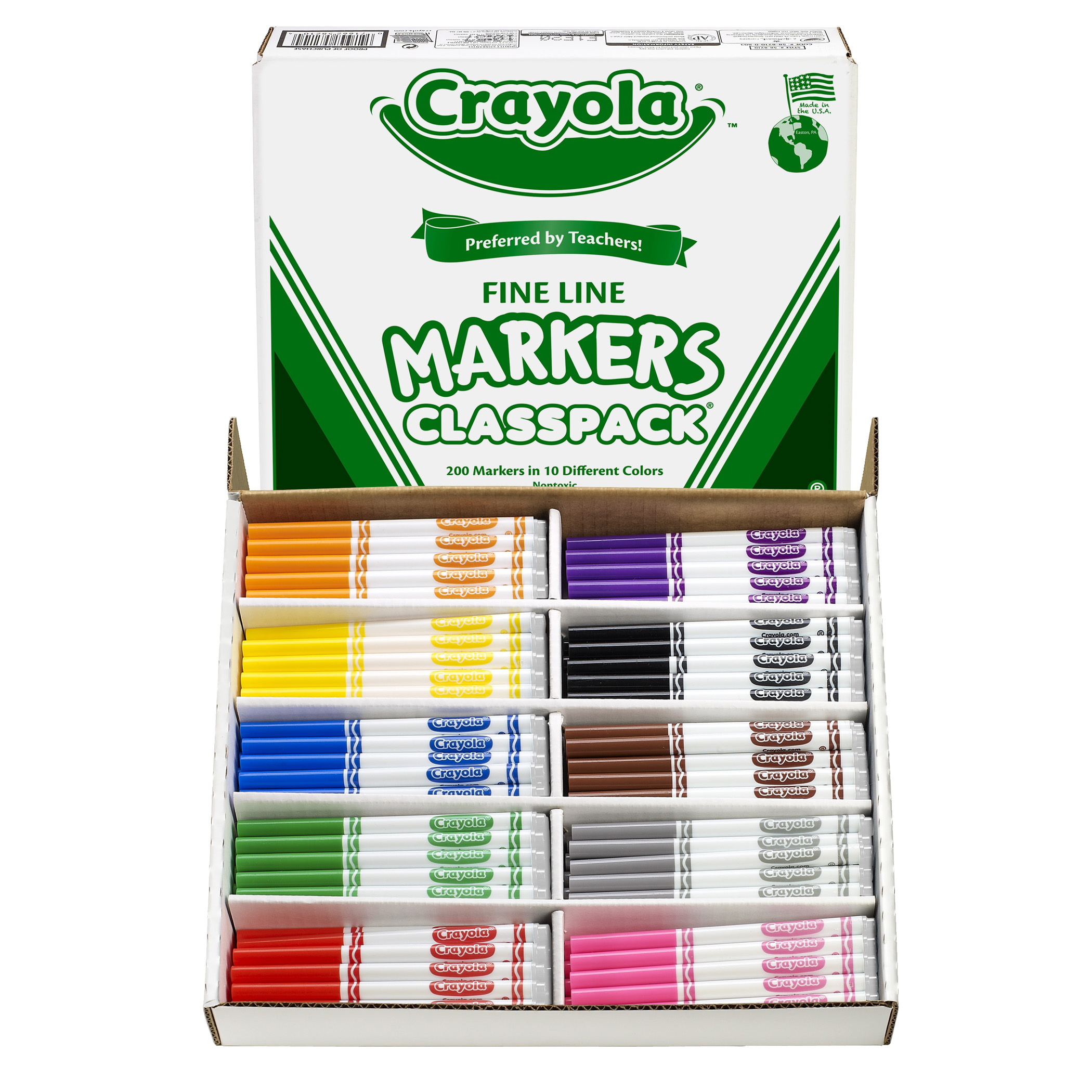 Crayola® Non-Washable Classpack Markers, Fine Point, 10 Colors, Pack of 200