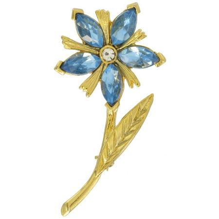 - Blue Rhinestone Gold Tone Flower Pin Brooch