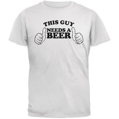 St. Patricks Day - This Guy Needs a Beer White Adult T-Shirt