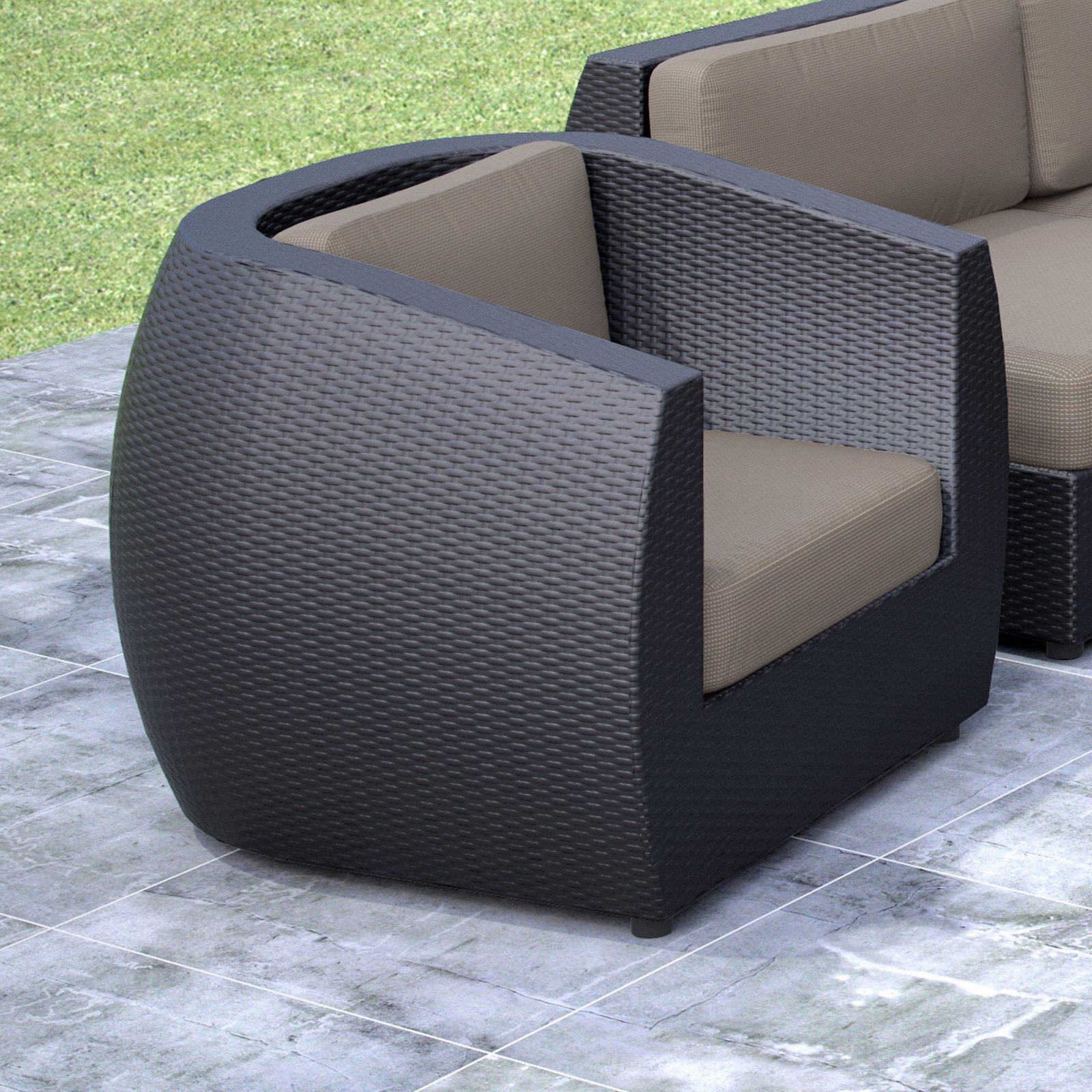 CorLiving Seattle Patio Chair, Textured Black Weave