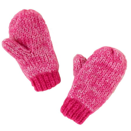 CP Infant Girls Pink Knit Mittens with Fleece Lining & Metallic Accents Infant Fleece Mittens