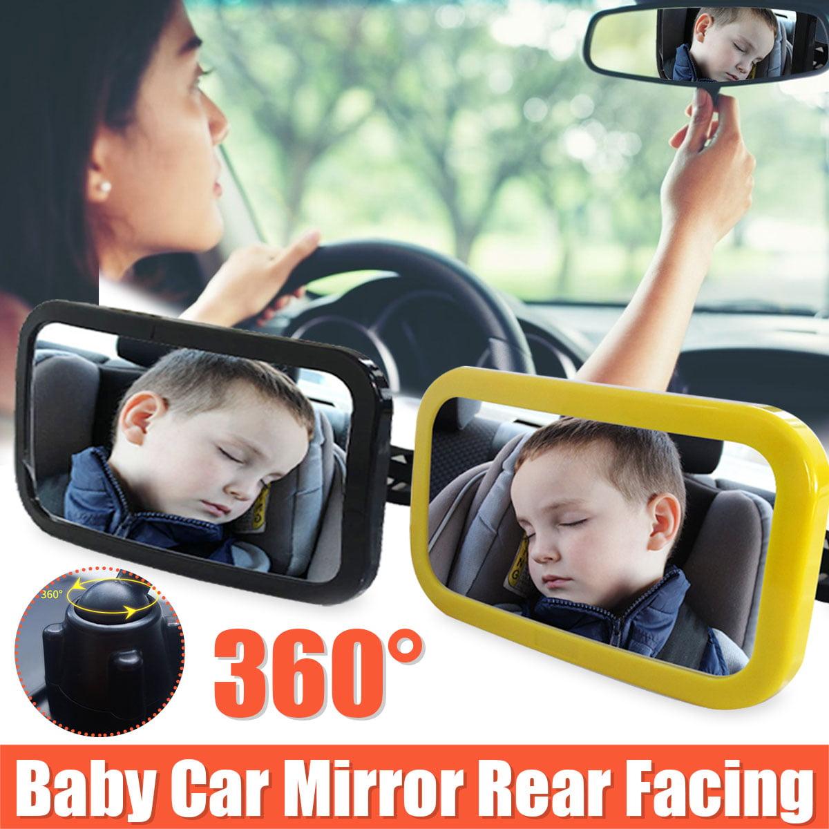 Color:Black Car Interior Rearview Mirror Auto Safety Easy View Back Seat Adjustable Mirror Baby Facing Rear View Acrylic Car Accessories/&