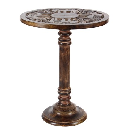 Decmode Traditional 21 Inch Mango Wood Accent Table with Elephant Carvings, Brown