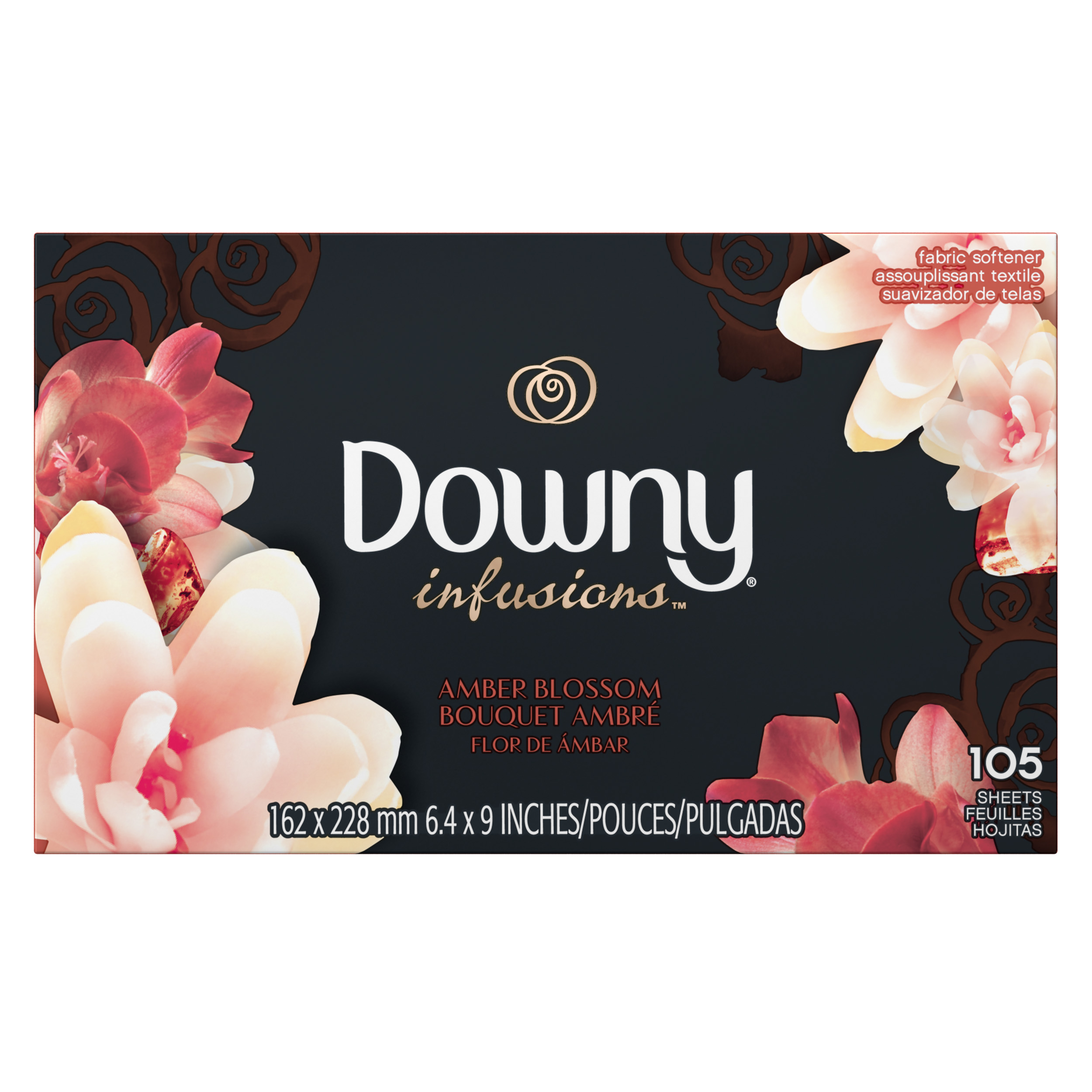 Downy Infusions Fabric Softener Dryer Sheets, Amber Blossom, 105 Count