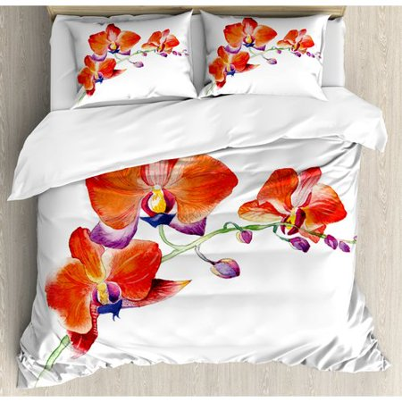 Ambesonne Floral Orchid Flower Branch with Bright Color Petals Blossom Botany Wild Blooms Picture Duvet Cover Set ()