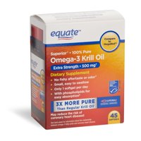 Equate Omega-3 Krill Oil 500 mg, 45 ct, Extra Strength Softgels