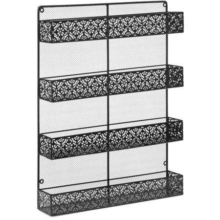 Pivoting Wall Mount Rack - Best Choice Products 4 Tier Large Wall Mounted Wire Spice Rack Organizer (Black)