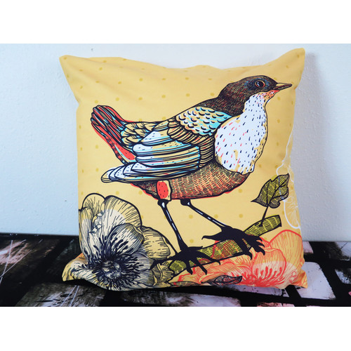 Arthouse Innovations Bird and Blooming Flower Throw Pillow