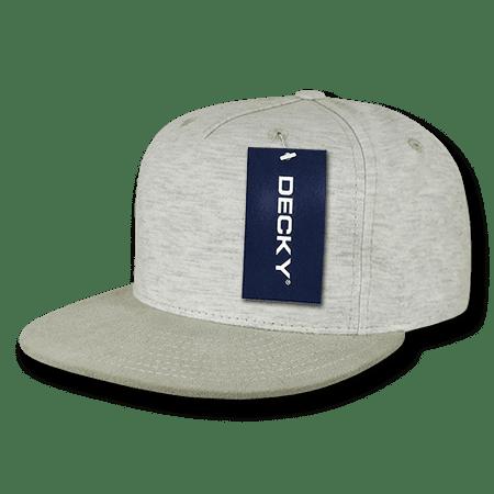 Decky 5 Panel Heather Jersey Knit Caps Snapback Baseball Hats Caps Cream
