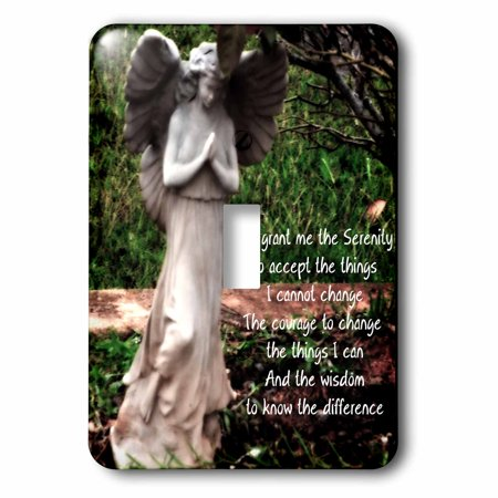 3dRose An Angel and the Serenity Prayer together - Single Toggle Switch