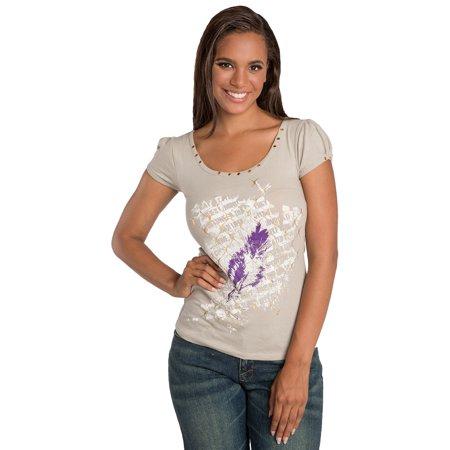 Jersey Print Shift - Sweet Vibes Junior Womens T-Shirt Screen Print Stretch Jersey Scoop Neck Top