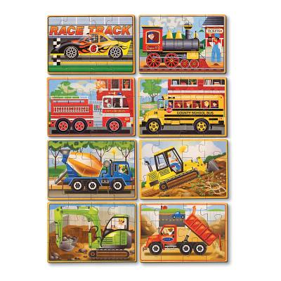Melissa & Doug Wooden Jigsaw Puzzles Set: Vehicles and Construction by Generic