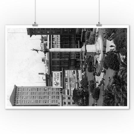 San Francisco, California - Aerial View of Union Square (9x12 Art Print, Wall Decor Travel Poster)