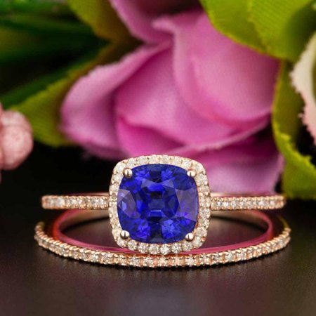 Art Deco 1.5 Carat Princess Cut Real Sapphire and Diamond Bridal Wedding Ring Set with Engagement Ring and Wedding Band in 18k Gold Over Silver