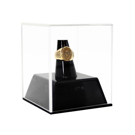 Deluxe Clear Acrylic Championship School Ring Display Case with Drawer and Black Acrylic Ring Holder - Ring Display Case