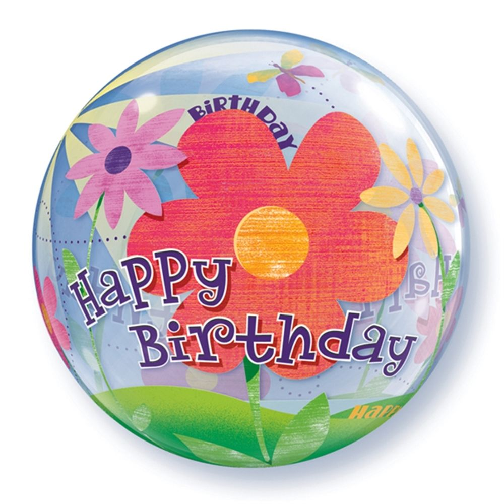 "Qualatex Happy Birthday Colorful Spring Flowers 22"" Bubble Balloon"