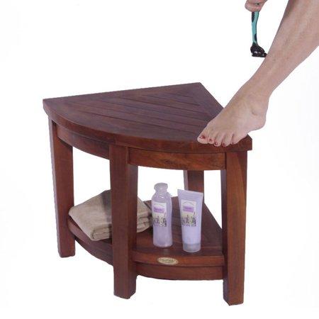 Decoteak Classic Teak Corner Spa Shower Stool (Corner Shower Stool)