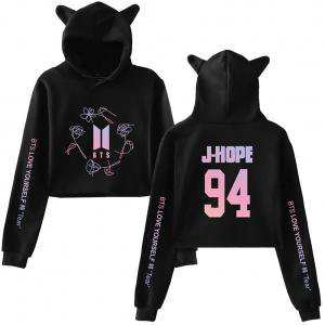 Fancyleo Fashion Women's Long Sleeve Crop Top Hoodie BTS Printed Hoody with Cute Cat Ear](Bts V Halloween)