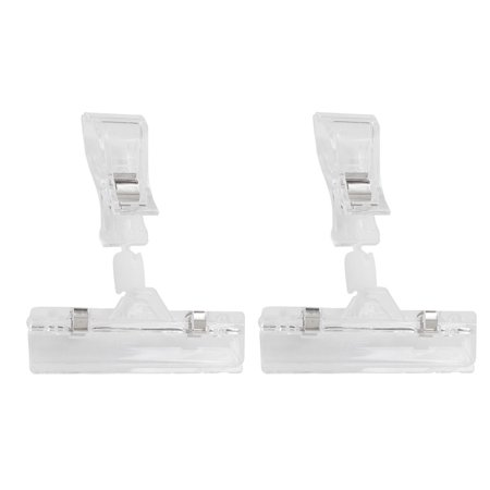 Unique Bargains Supermarkets Sign Mark Card Clear Pop Display Holder Clamp Sign Clips 2 Pcs