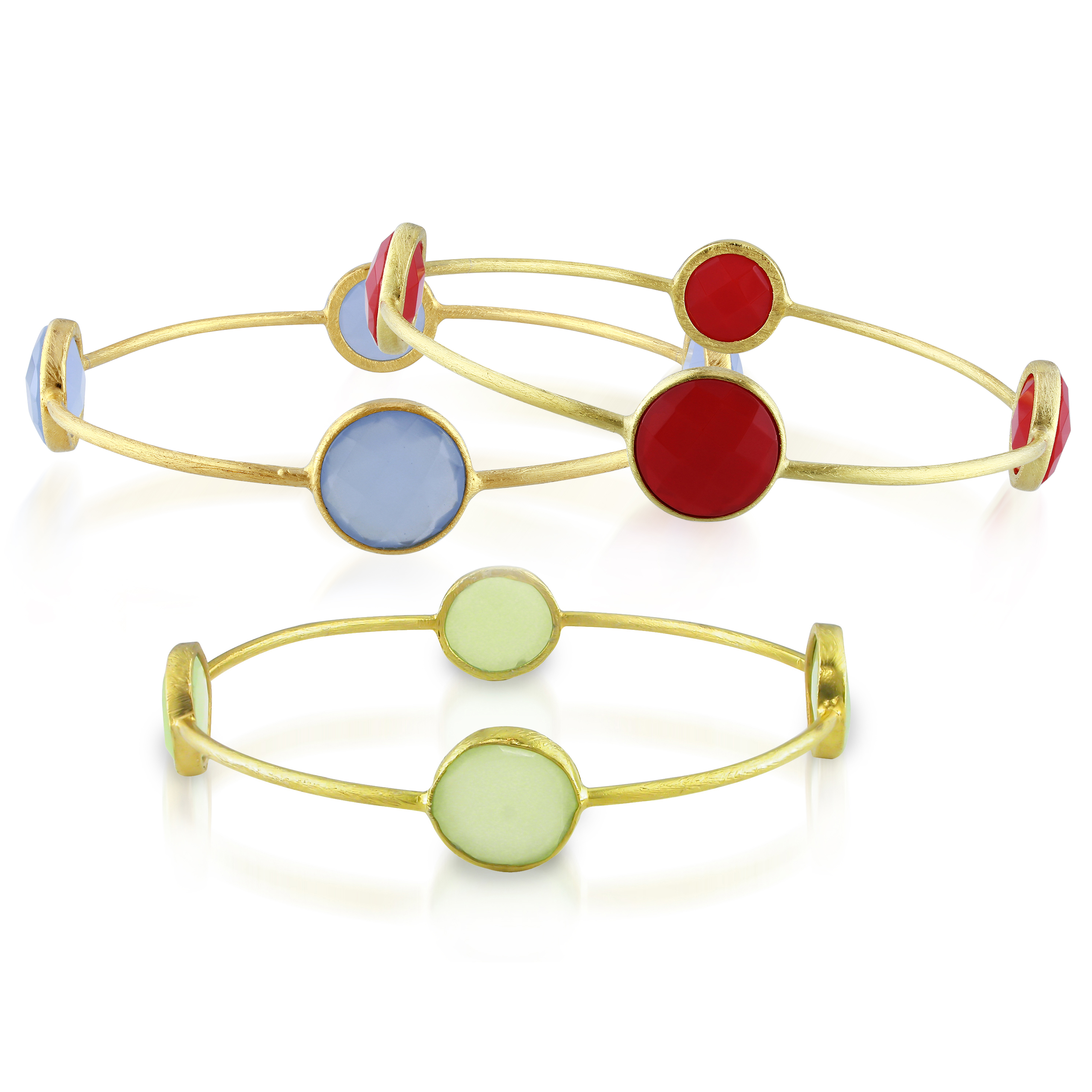 Tangelo 56 Carat T.G.W. Synthetic Green Chalcedony, Blue Onyx and Carnelian Yellow-Plated Sterling Silver Set of 3... by Delmar