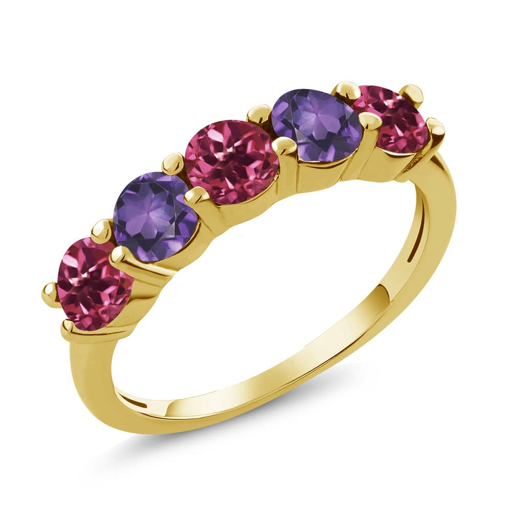 0.75 Ct Round Pink Tourmaline Purple Amethyst 18K Yellow Gold Wedding Band Ring by