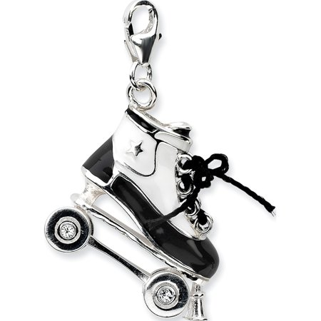 925 Sterling Silver 3-D Enameled Roller Skatew/Lobster Clasp (22x39mm) Pendant / Charm - image 1 of 1