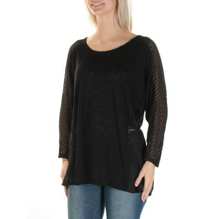 ALFANI Womens Black Sheer 3/4 Sleeve Jewel Neck Hi-Lo Top  Size: L (Alumni Clothing)