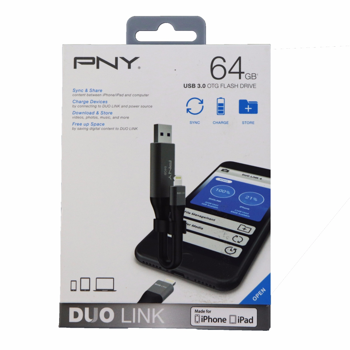 PNY 64GB Duo Link USB 3.0 On the Go Flash Drive for iPhone and iPads (Refurbished)