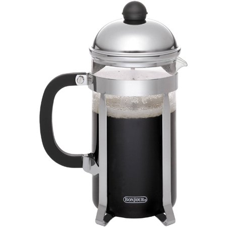 BonJour Coffee Stainless Steel French Press with Glass Carafe, 50.7-Ounce, Monet, Black Handle ()